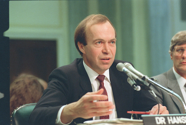 Dr. Jim Hansen, director of NASA's Goddard Institute for Space Studies in New York, testifies before a Senate Transportation subcommittee on Capitol Hill in Washington, D.C., Monday, May 9, 1989.  Hansen told the committee that the Office of Management and Budget forced him to contradict, within his own prepared statement, his findings that a buildup of greenhouse effect gases would increase the likelihood of drought.  (AP Photo/Dennis Cook)